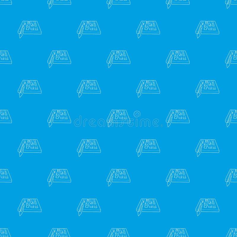 有箭头的道路横跨迷宫样式传染媒介无缝的蓝色 皇族释放例证
