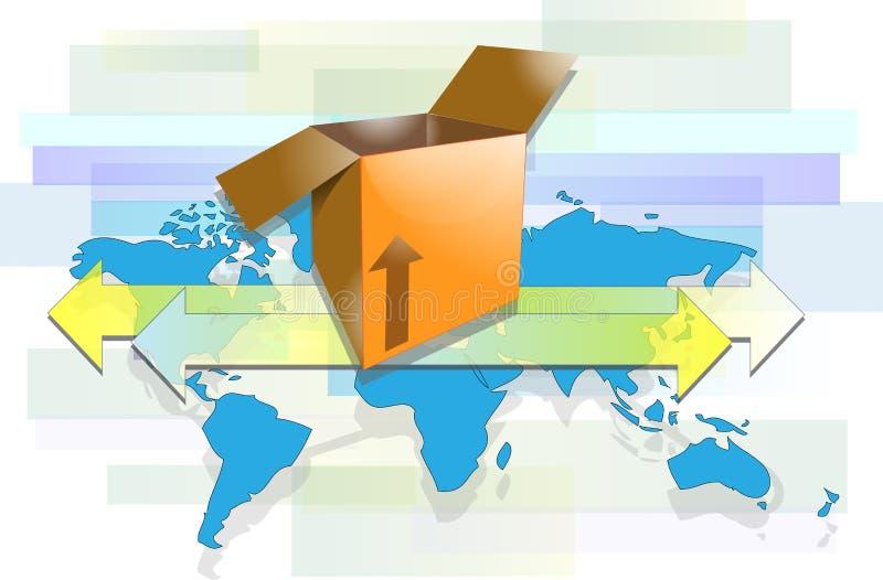 有箭头和世界地图的箱子 皇族释放例证