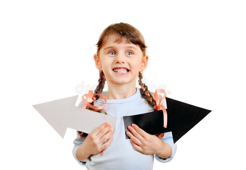 有箭头的小女孩 免版税图库摄影