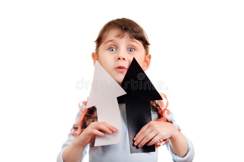 有箭头的小女孩 免版税库存图片