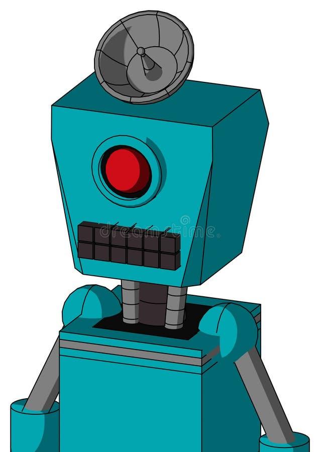 有箱子头和键盘嘴的蓝色机器人和独眼巨人注视和雷达盘帽子 皇族释放例证