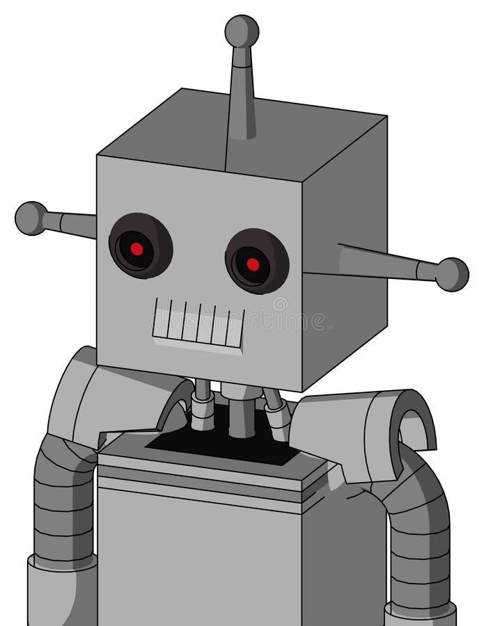 有箱子头的白色自动机和牙装腔作势地说和黑发光的红色眼睛和唯一天线 库存例证
