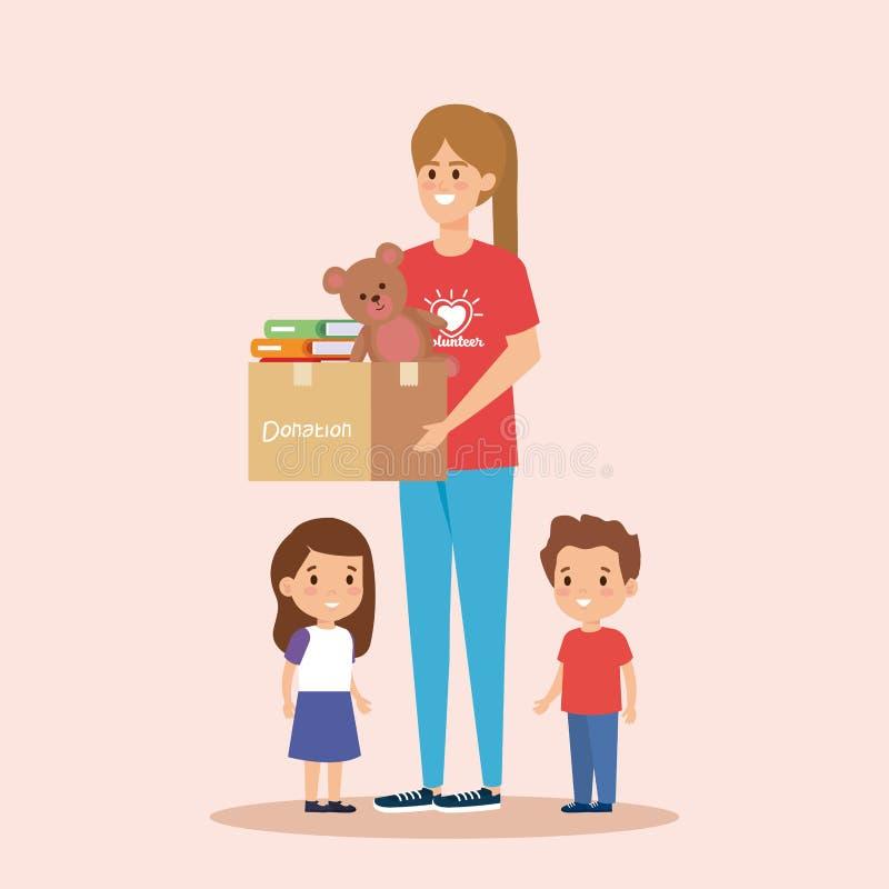有箱子捐赠的女孩志愿者对孩子 向量例证