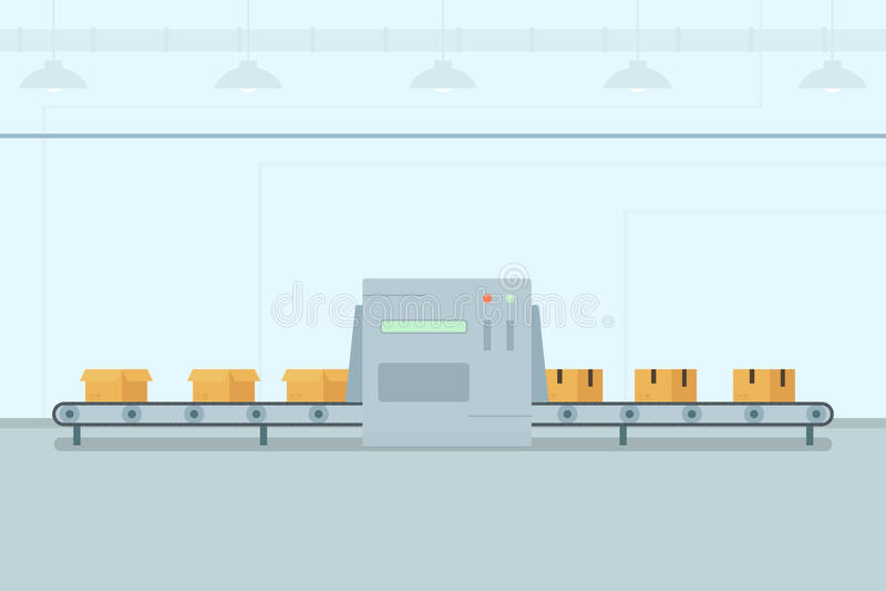 有箱子的传送带 向量例证
