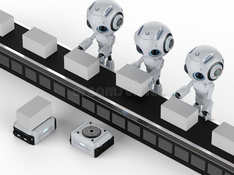 有箱子的微型机器人 库存例证