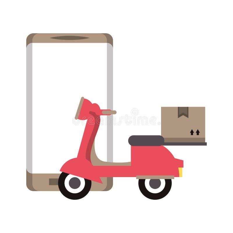 有箱子的网上送货服务滑行车 库存例证