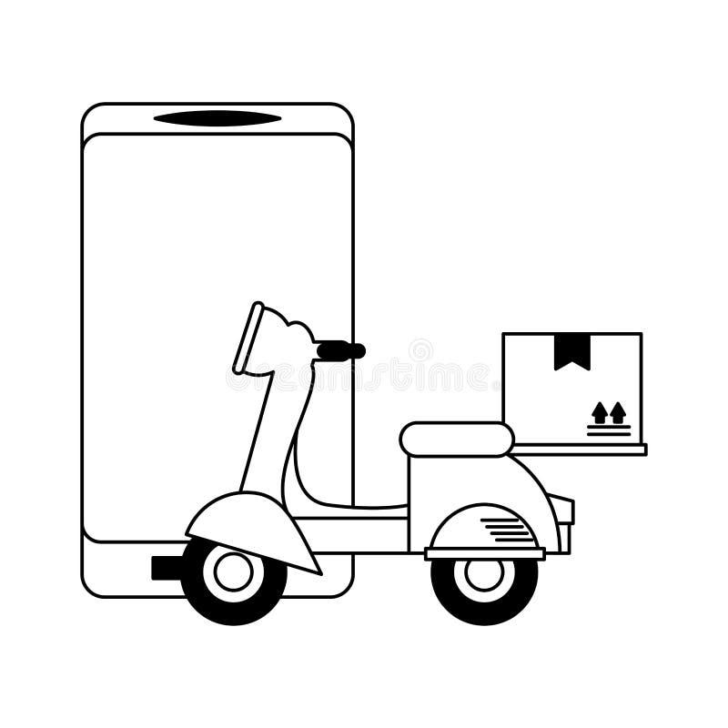 有箱子的网上送货服务滑行车 皇族释放例证