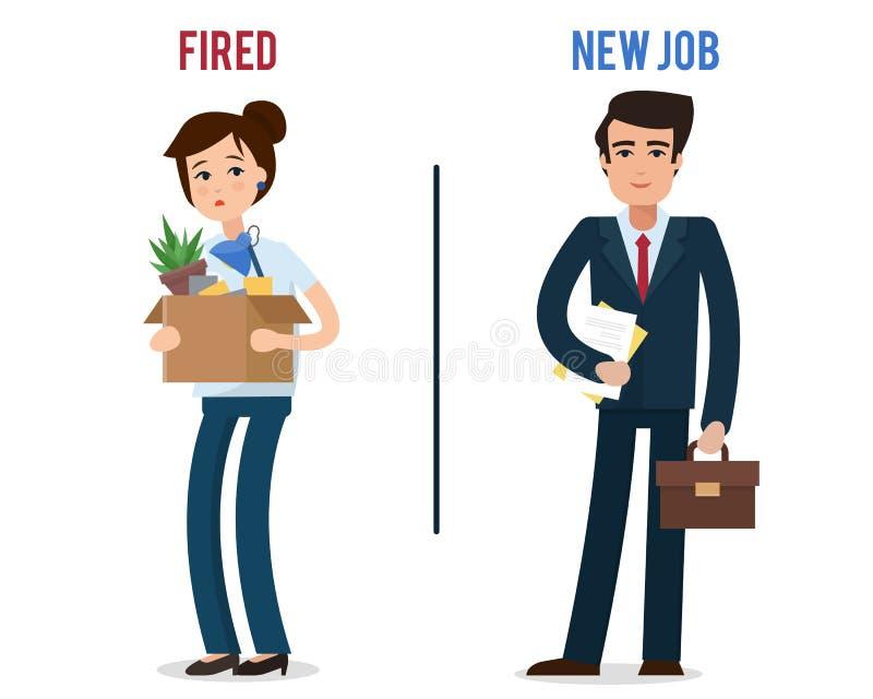 有箱子的被遣散的办公室工作者有办公室事的 向量例证