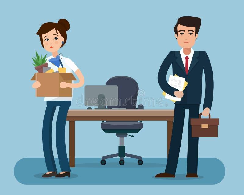 有箱子的被遣散的办公室工作者有办公室事的 皇族释放例证