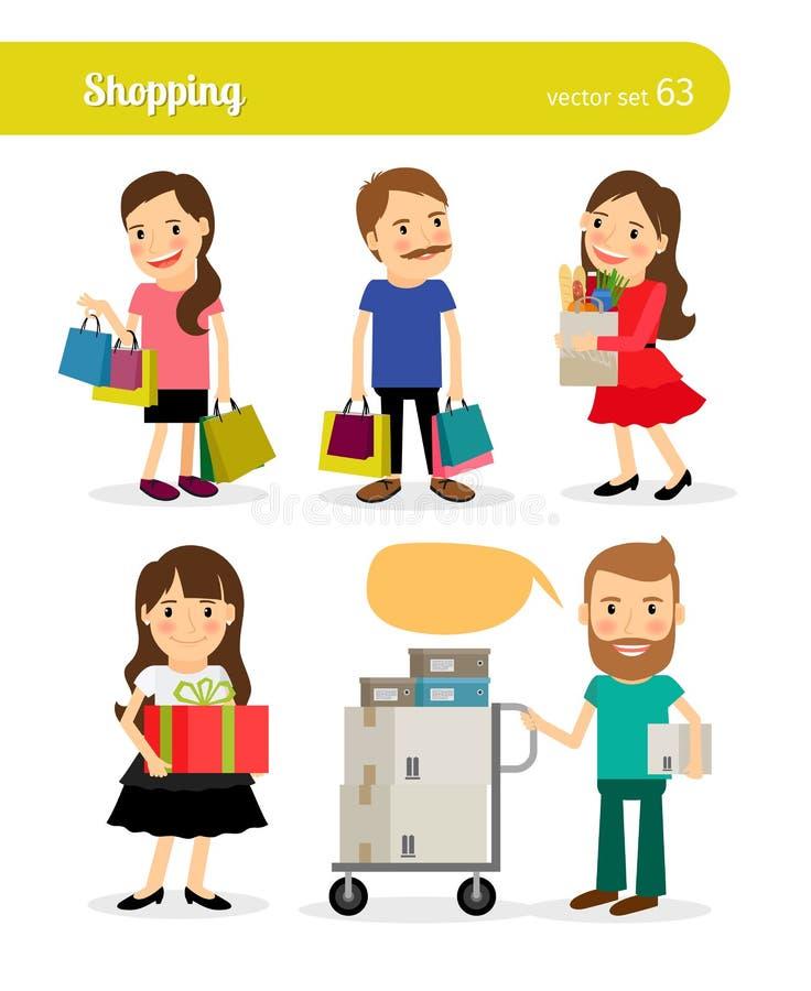 Download 有篮子和推车的购物人 向量例证. 插画 包括有 货物, 发运, 商务, 方式, 字符, 贴现, beauvoir - 62526505