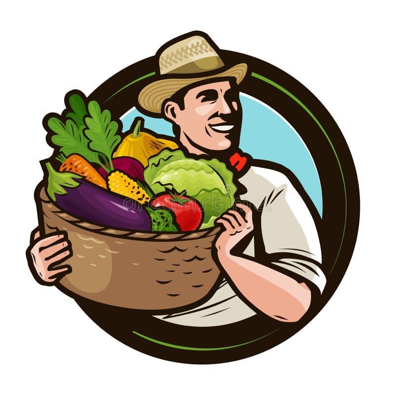 农夫卡通画_有篮子的农夫有很多新鲜蔬菜 农业,种田概念 外籍动画