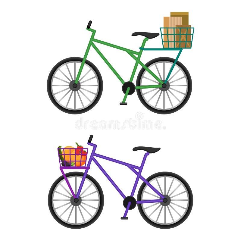 有篮子的自行车有很多男性信封和新鲜蔬菜 皇族释放例证