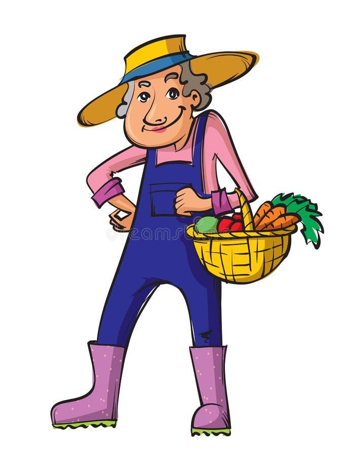 有篮子的花匠老妇人 向量例证