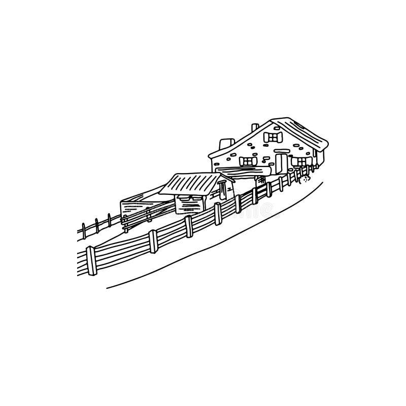 有篱芭的议院在欧洲地区传染媒介例证剪影乱画的乡下手拉与在白色隔绝的黑线 库存例证