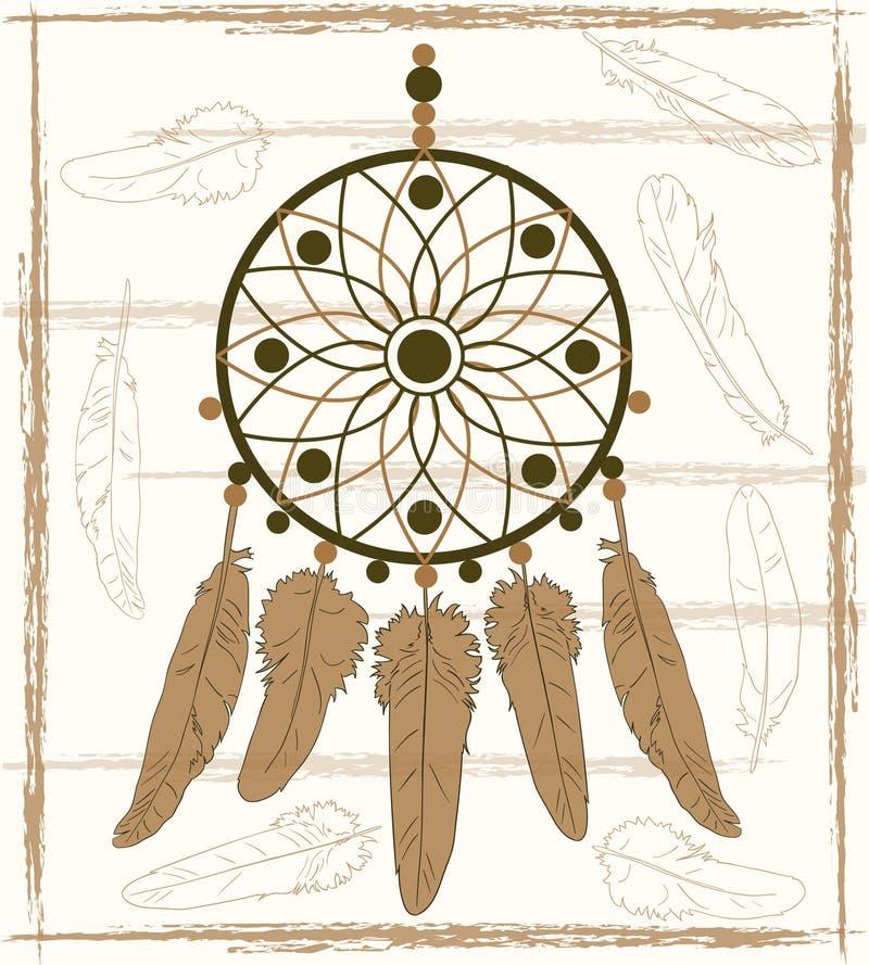 有米黄羽毛的梦想俘获器 向量例证