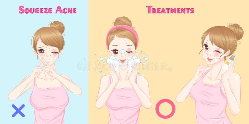 有粉刺问题的妇女 库存例证
