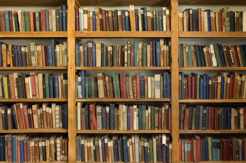 有精装书的一个老图书馆在杉木架子 免版税库存照片