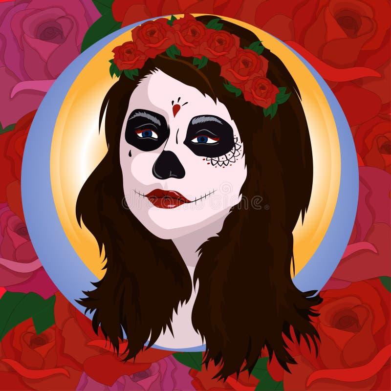 有糖头骨构成的女孩 Calavera卡特里纳 死者或万圣夜人的墨西哥天 de dia los muertos 库存例证