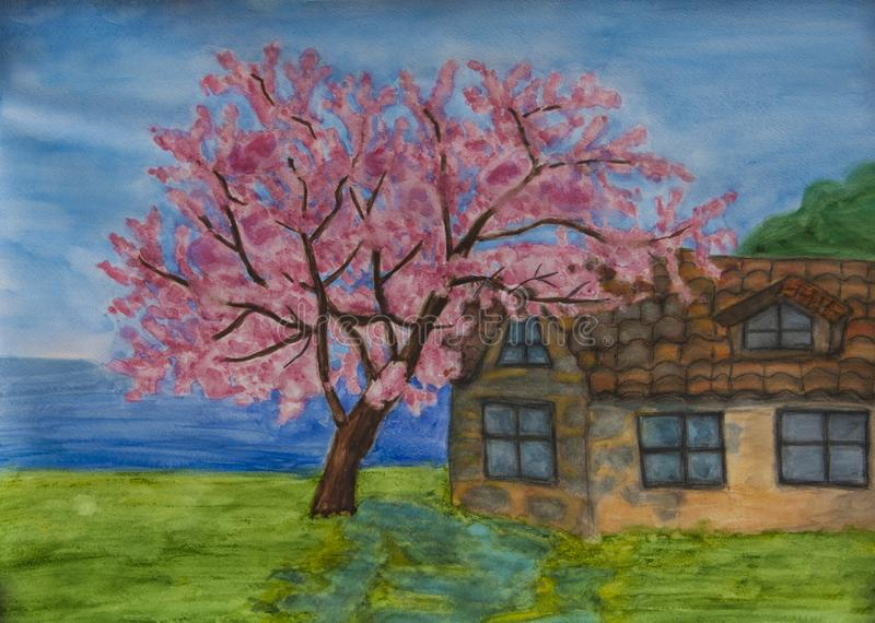 有紫荆树的议院在海岸在保加利亚 库存图片