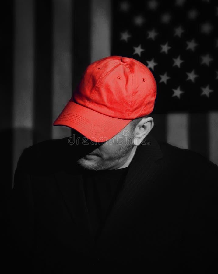 有红帽公司的共和党选民 库存照片