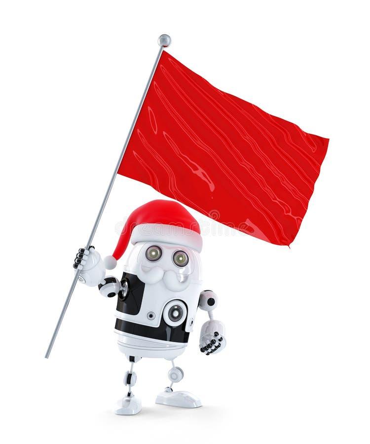 有红旗的机器人圣诞老人 向量例证