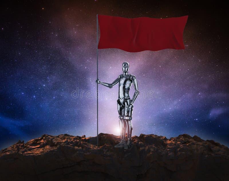 有红旗的机器人 向量例证