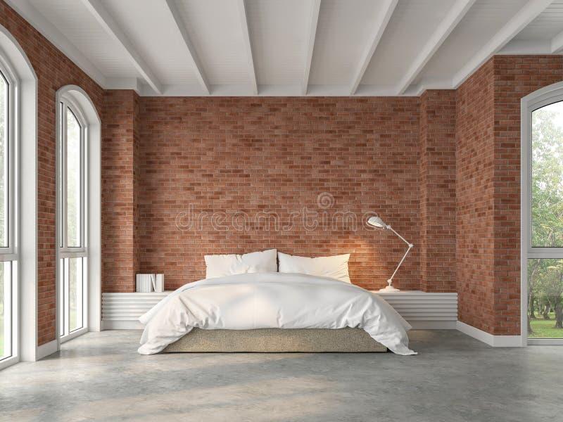 有红砖墙壁的3d现代顶楼卧室回报 皇族释放例证