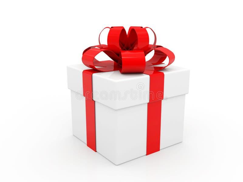 有红色丝带和弓的白色纸板箱 背景配件箱礼品白色 皇族释放例证