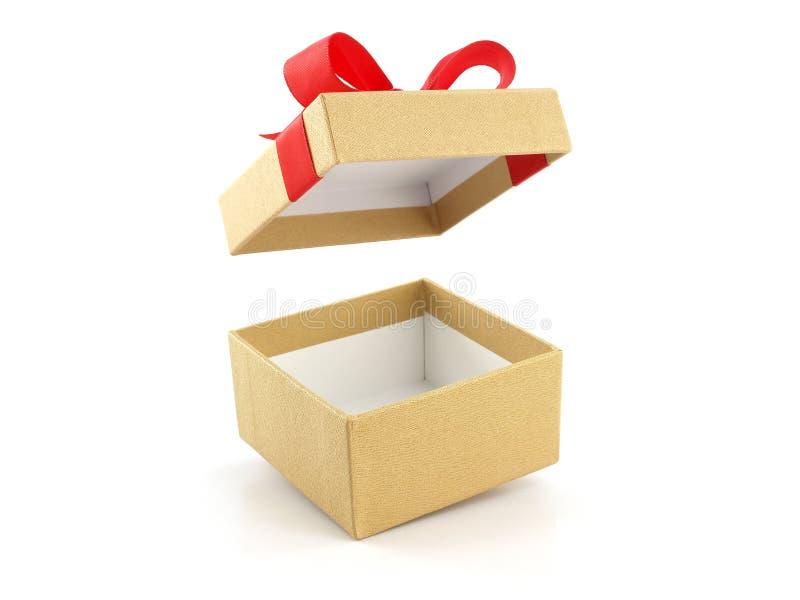 有红色丝带弓的开放和空的金黄礼物盒 免版税库存图片