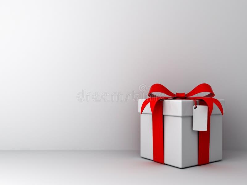 有红色丝带弓的礼物盒和在空的白色墙壁背景的空白的标记 库存例证