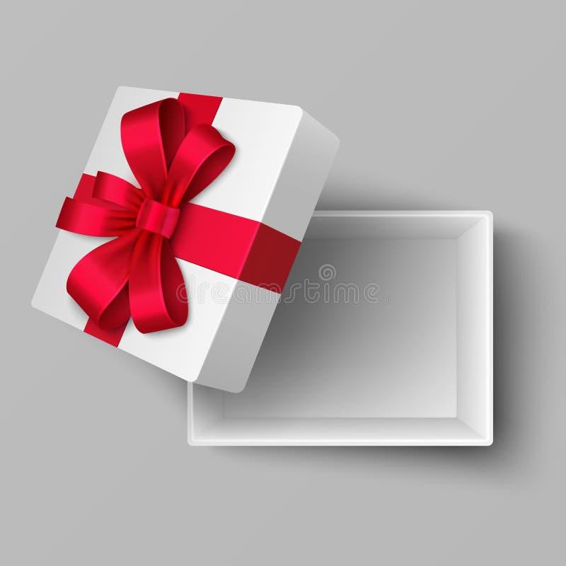 有红色丝绸丝带的空的开放箱子和礼物鞠躬顶视图 被隔绝的现实传染媒介例证 库存例证