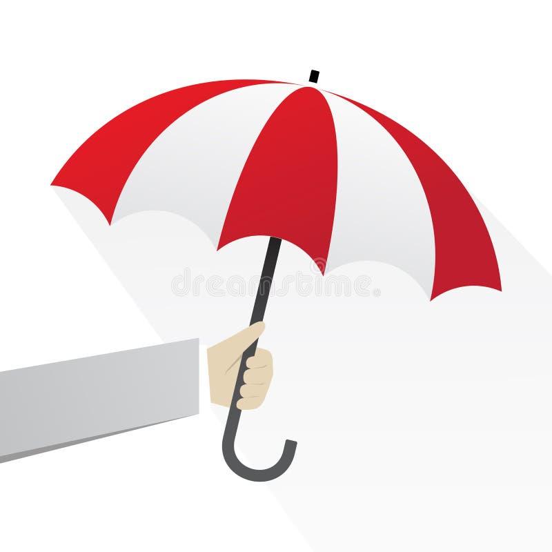 有红色伞的手 向量例证