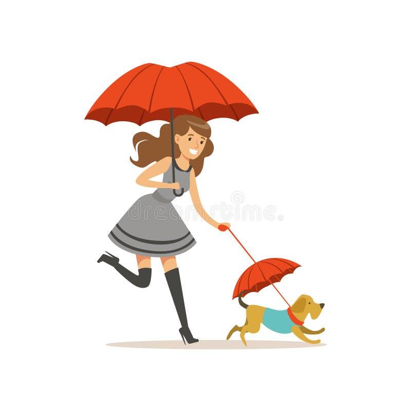 有红色伞的美丽的少妇走与她的狗平的传染媒介例证的 库存例证