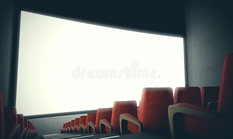 有红色位子的空的戏院屏幕 使用滤色器,宽 3d回报 免版税库存照片