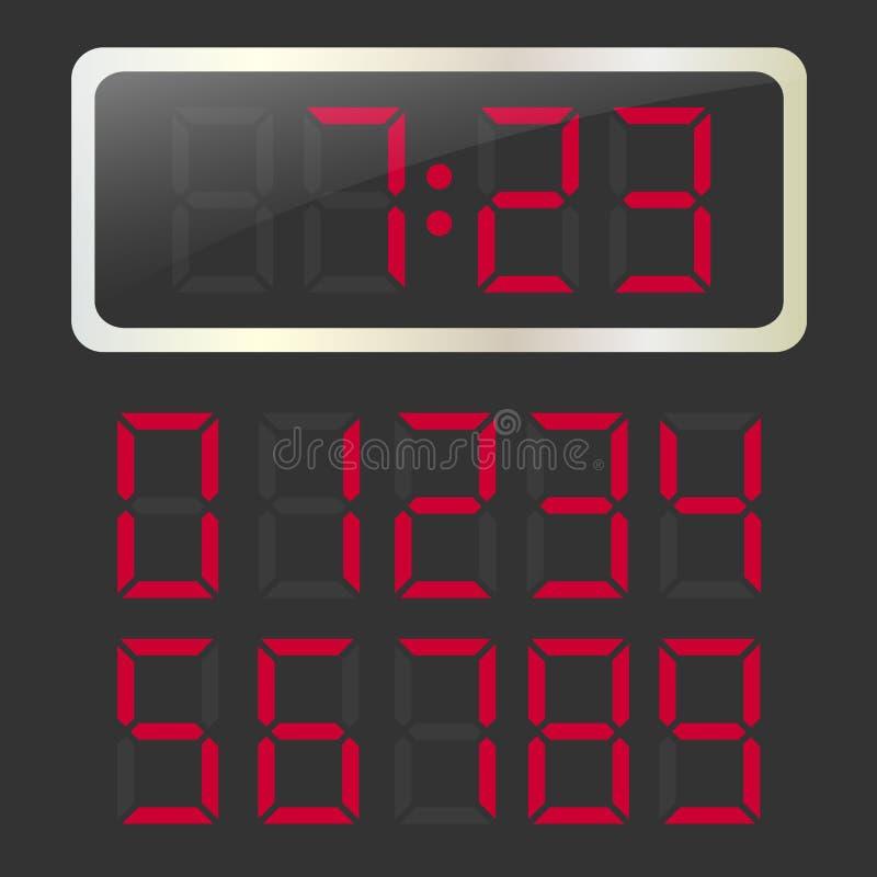 有红色发光的数字式数字的传染媒介时钟 向量例证