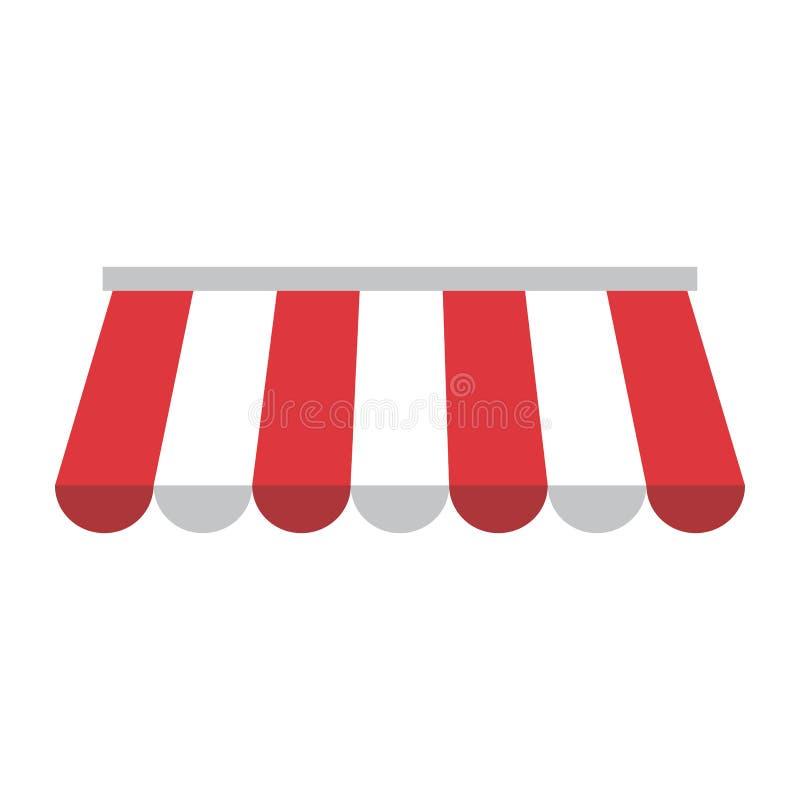 有红色和白色条纹的遮篷 向量 库存例证