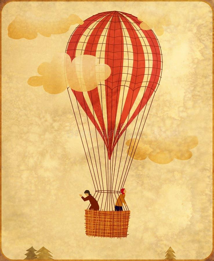 葡萄酒热空气气球 库存例证