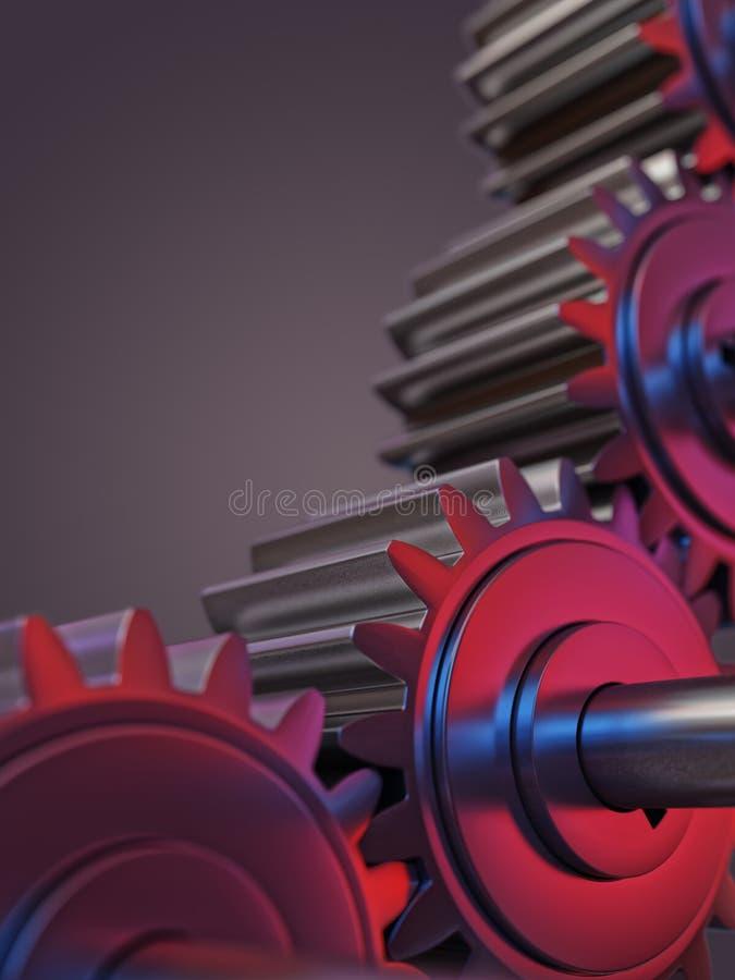 有红色和蓝色反射配合概念3d例证的齿轮 免版税图库摄影