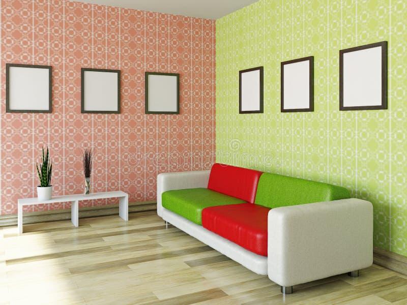 有红色和绿色枕头的沙发 库存例证