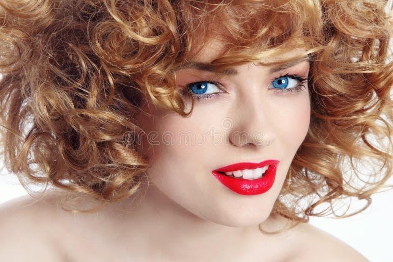 有红色唇膏的女孩 库存照片