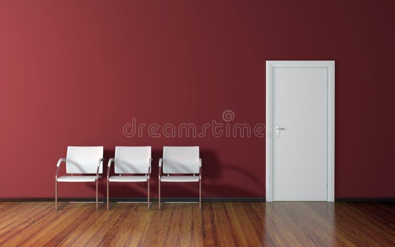 有红色墙壁的候诊室 库存例证