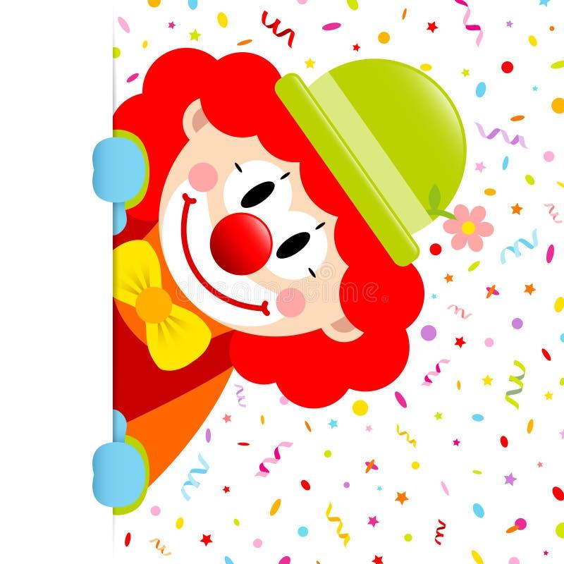 有红色头发垂直的横幅正确的飘带和五彩纸屑的小丑 向量例证