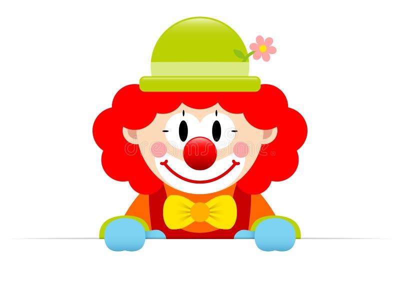 有红色头发水平的横幅的小丑 库存例证