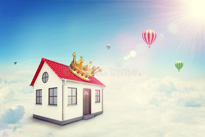 有红色屋顶和冠的白色房子在云彩 免版税库存照片