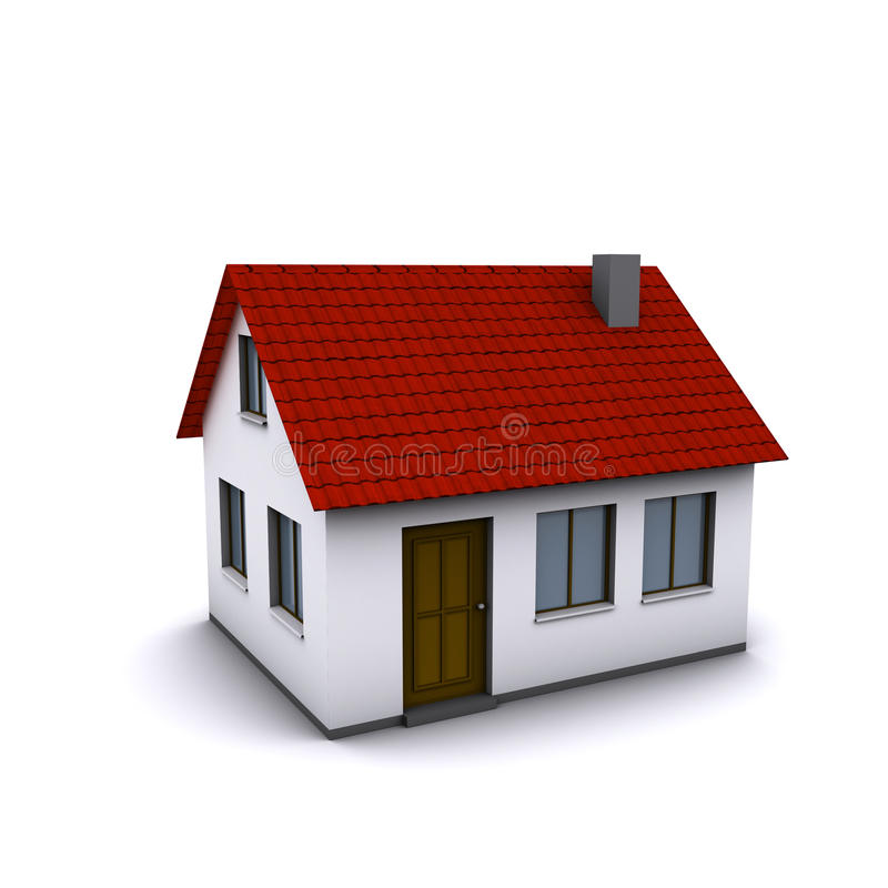 有红色屋顶的一个小屋