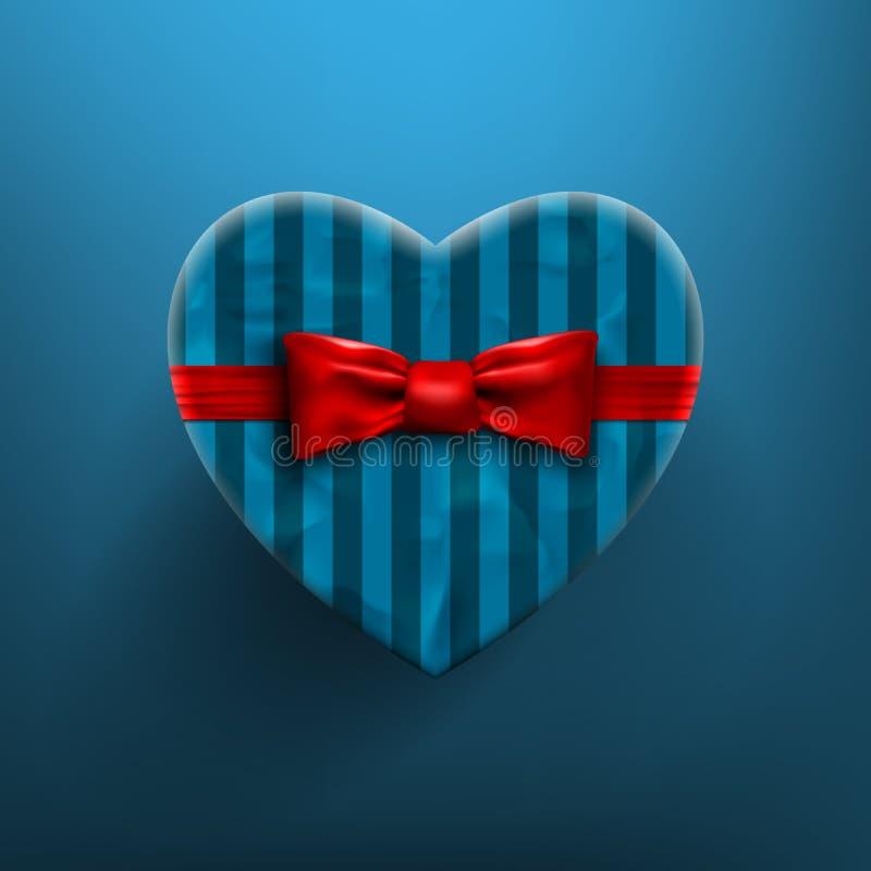 有红色弓和丝带的心形的情人节礼物盒 向量例证