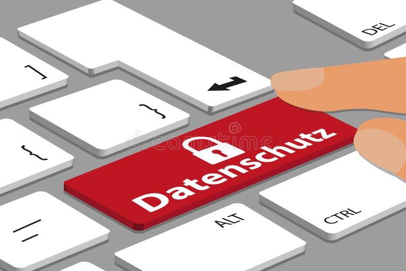有红色德国数据保护按钮的键盘在计算机或膝上型计算机有手指的-传染媒介例证上 向量例证