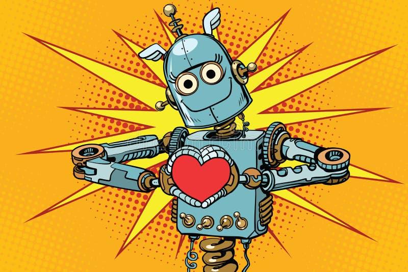 有红色心脏的机器人恋人,爱的标志 向量例证