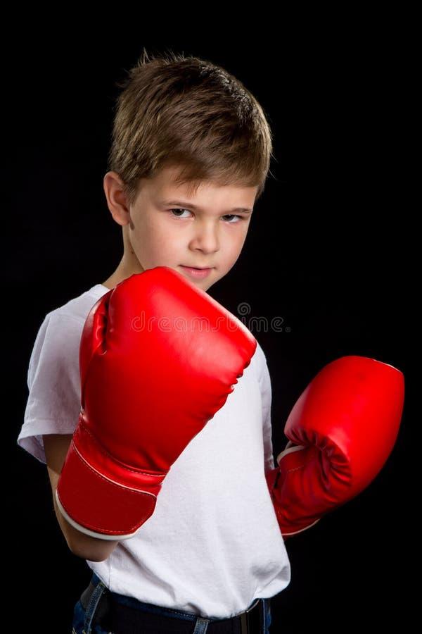 有红色手套的一位恼怒,确信的拳击手 在黑背景的保卫位置画象 免版税库存照片
