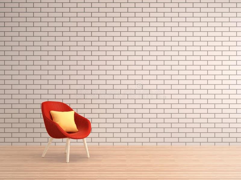 有红色扶手椅子的客厅白色砖墙 免版税库存图片